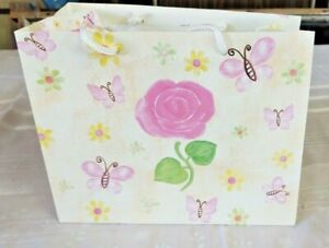 GIFT BAG WITH  PINK ROSES AND BUTTERFLIES