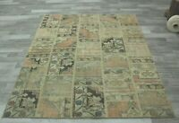 Anatolian Hand Knotted Nomadic Carpet Turkish Vintage Patchwork Area Rug 6x8 ft.