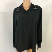 Vintage Yves St Clair Womens Blouse Size 14 Beaded Business Black Long Sleeved