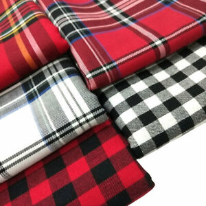 Soft Cotton Plaid Check Tartan Fabric For Dress Sewing By The Metre 145cm Wide