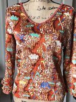 Alberto Makali Crystal Embellished V-Neck Blouse Top 3/4 Sleeves M