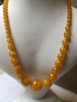 1930s Necklace Faux Amber Glass Graded Jewellery Jewelry Screw Clasp Retro Old