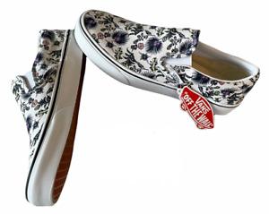 Vans Classic Slip On (Paradise Floral) White Canvas Shoes Sz 8.5 Women's NIB ⭐️