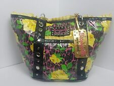 Betsey Johnson Betseyville Vinyl Leopard Yellow Rose purse vintage pinup look