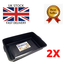 More details for 2x large pet cat litter tray toilet kitten black plastic 42cm x 30cm x 8cm box