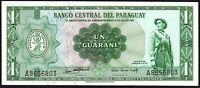 L.1952 (1963) Paraguay 1 Guarani Banknotes * aUNC * P-193a *
