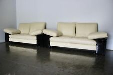 "Superb Immaculate Pair of Aram ""Eileen Gray Lota"" Sofas in Cream Leather"