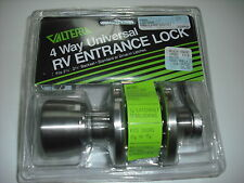RV - Trailer / Knob x Lever Entry Door Lock - Stainless Steel - Chrome Color