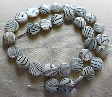 Shell Patterned Coin (Black/White) Approx 13 x 3mm - Full Strand