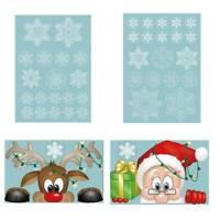 Christmas Snowflake Santa Claus Window Sticker Self Clings XMAS Decor White B5