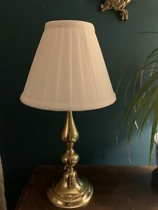 Vintage Solid Brass Classic Home Lamp With heavy Linen Shade PAT Tested