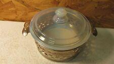 Antique Fry Glass Opalescent Casserole & Holder