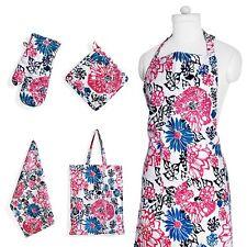 Apron Flower Print Set w Pockets Kitchen Towel Pot Holder and Oven Mit Glove New