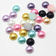 200 Pcs Faux Pearl Half Round Flat Back Beads Scrapbook Embellishment Craft 12mm