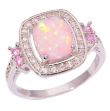 925 Silver Filled Cut Fire Opal Pink Sapphire Gemstone Ring Jewelry Wedding#6-10