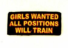Girls Wanted all Positions will Train Small Badge for Biker Vest Jacket Patch