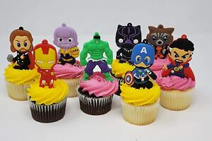 Avengers Birthday Cake Topper and Party Favor Set with Captain America, Iron Man