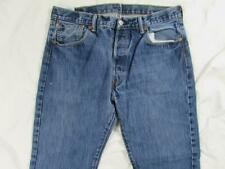 Levi 501 Button Fly Straight Leg Faded Denim Jeans Tag 36x30 Measure 34x30