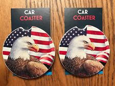 """PAIR OF BRAND NEW """"AMERICAN EAGLE"""" STYLE ABSORBENT STONE CAR COASTERS Made USA"""