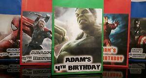 Spiderman Hulk Thor Iron Man Captain America Personalised Birthday Party Bags