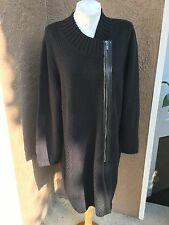 Chico's Black Long Moto Zip Cardigan Sweater Jacket Topper Coat 3 = XL 16/18 NWT