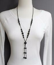 """Black necklace tassel bead pendant 28"""" long beaded Y necklace seed bead lariat"""