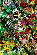 2 x rasta souris weed bob marley surf scooter autocollant bombe euro vinyl decal