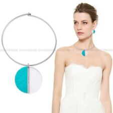 NWT 🐬 MICHAEL KORS MKJ5566 Silver Turquoise Blue Colorblock Round Necklace