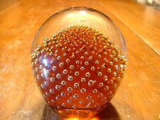 Vintage Amber Controlled Bubble Art Glass Paperweight
