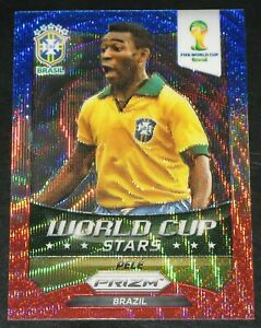 2014 Prizm World Cup Stars Pele Wave Blue White Red BWR #41 Brazil Pelé