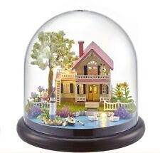 Kits DIY Wooden Dollhouse pink house Doll House LED Light Furniture Puppenhaus