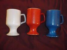 Anchor Hocking Milk Glass Red White Blue Textured Petestal Coffee Mugs Lot 3 EUC