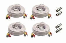 4x 100ft BNC Video and Power Extension Cable with Connector for Security Camera