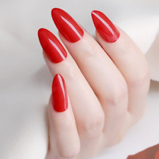 STILETTO *CHERRY BOMB* Full Cover Red Transparent Press On 24 Nail Tips + Glue!