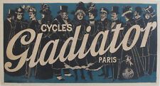 1895 VINTAGE FRENCH BICYCLE POSTER, CYCLES GLADIATOR, BELLE EPOQUE BIKE AD