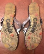 Coach Poppy Sandals Leather Flip Flops Heart Fronts Size 8B Thin Wedge Heels