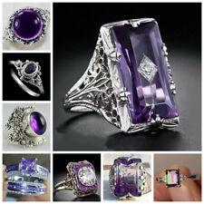 Fashion Ring 925 Silver Amethyst Jewelry Women Wedding Bridal Coupel Gift Sz5-12