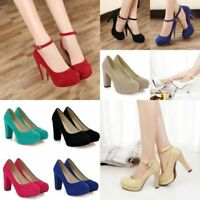 Women Bridal Round Toe Platform Chunky Pumps Party Shoes High Heels Dress Sandal