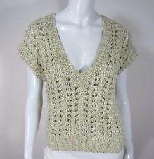 J Crew Short Sleeve Sweater Size S Small Crochet Solid Gray V NECKLINE