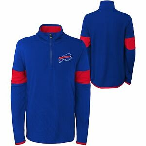 Outerstuff NFL Youth (8-20) Buffalo Bills Yard Line 1/4 Pullover Sweater