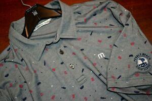 Travis Mathew Mens Gray Pebble Beach Golf Coarse Short Sleeve Polo Shirt sz 2XL