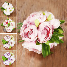 Artificial Bouquet Purple Peony Flower Bunch Hydrangea Christmas Wedding Decor