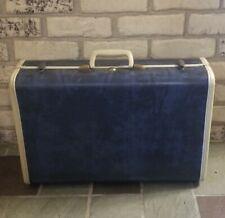 """Vintage Samsonite Shwayder Bros 4721 Blue Marble & White 21"""" Suitcase with Key"""