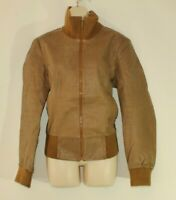 Women's Brown Leather VERO MODA Zip Bomber Waist Length Biker Jacket Size XL