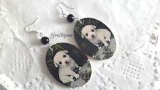 Orecchini pendenti legno  labrador cane cagnolino perla color onice nero