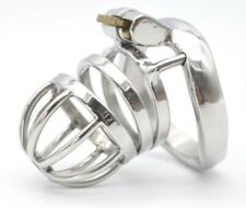 Stainless Steel Male Cuckold Lockdown Penis Spring Chastity Cage Sleeve Rings SS