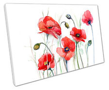 WATERCOLOR RED POPPY POPPIES CANVAS WALL ART PICTURE LARGE 75 X 50 CM