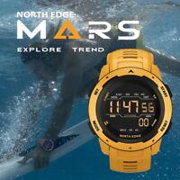 NORTH EDGE Men's Digital Sport Military Watch Dual Time Pedometer Alarm WP 50M