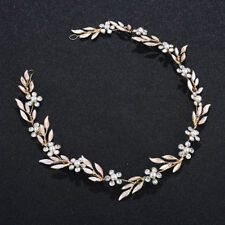 Stunning Beaded Hair Vine Floral Bridal Halo Crystal Pearls Wedding Headpieces