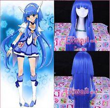 Heartcatch Precure fashion Long Blue Cure Beauty Cosplay Wig 100CM